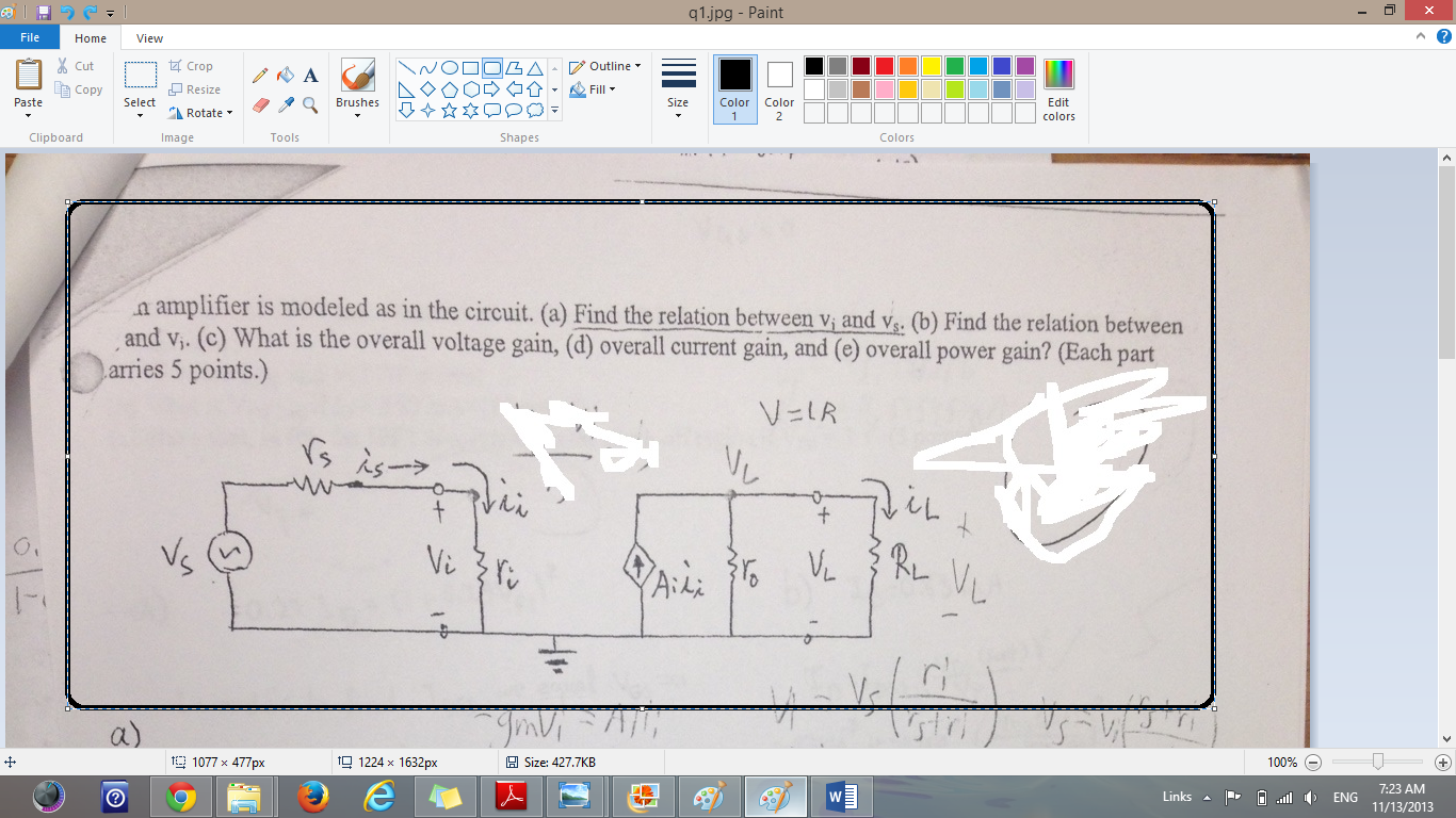 An amplifier is modeled as the circuit. (a) Find t