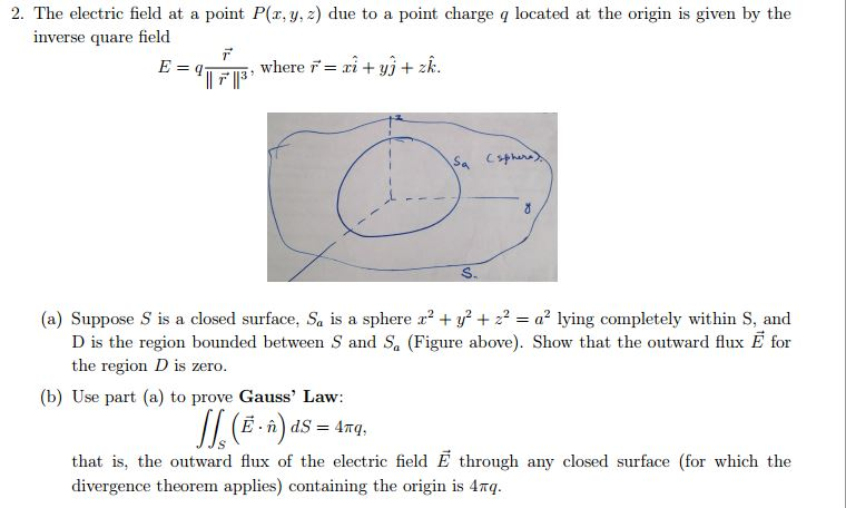 The electric field at a point P(x. y. z) due to a