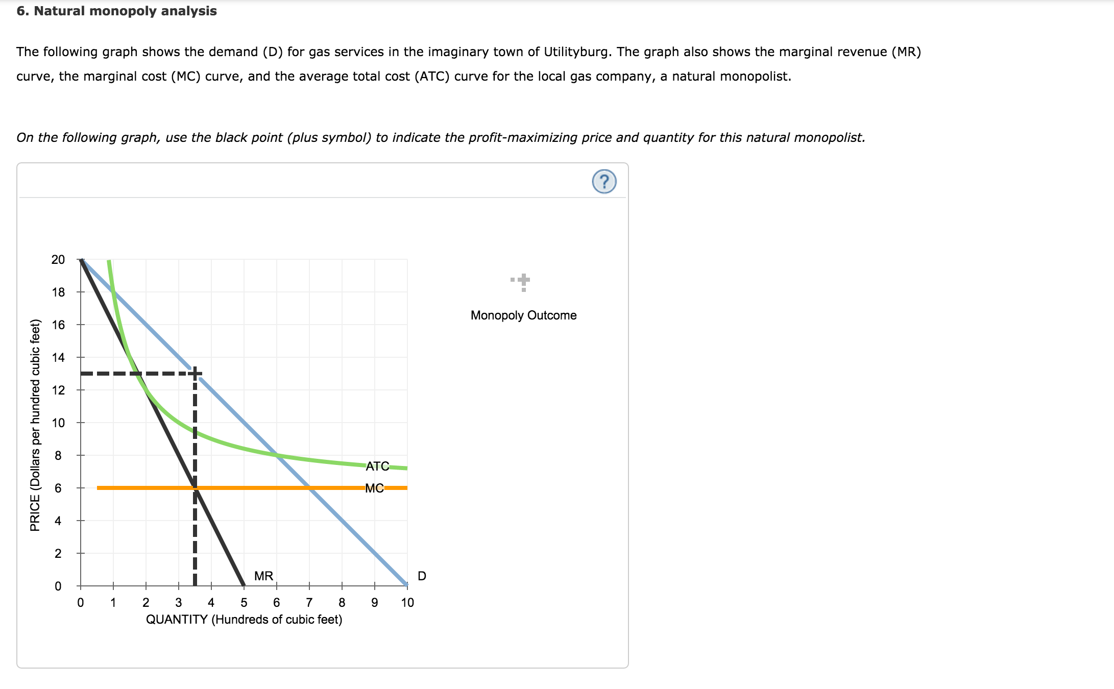 Solved 6 natural monopoly analysis the following graph s natural monopoly analysis the following graph shows the demand d for gas ccuart Images