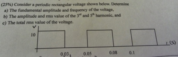 Consider a periodic rectangular voltage shown belo