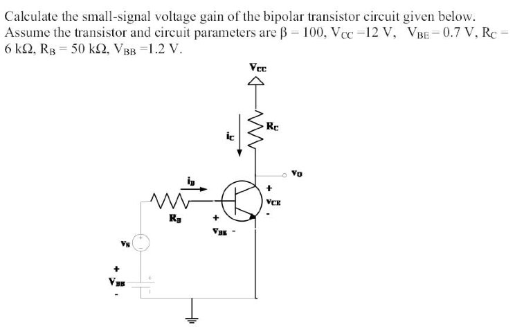 Calculate the small-signal voltage gain of the bip