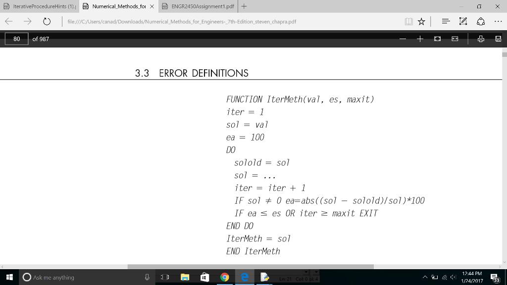 Iterative ProcedureHints (1) I E Numerical Methods