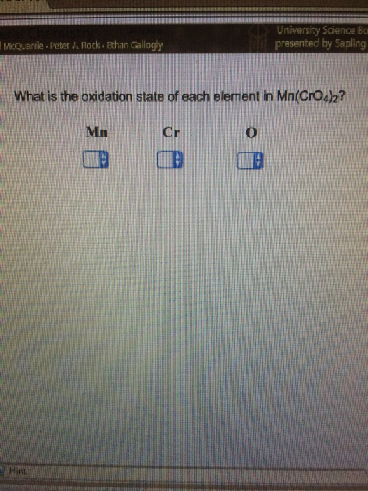 What Is The Oxidation State Of Each Element In Mn Cheggcom - What state is mn