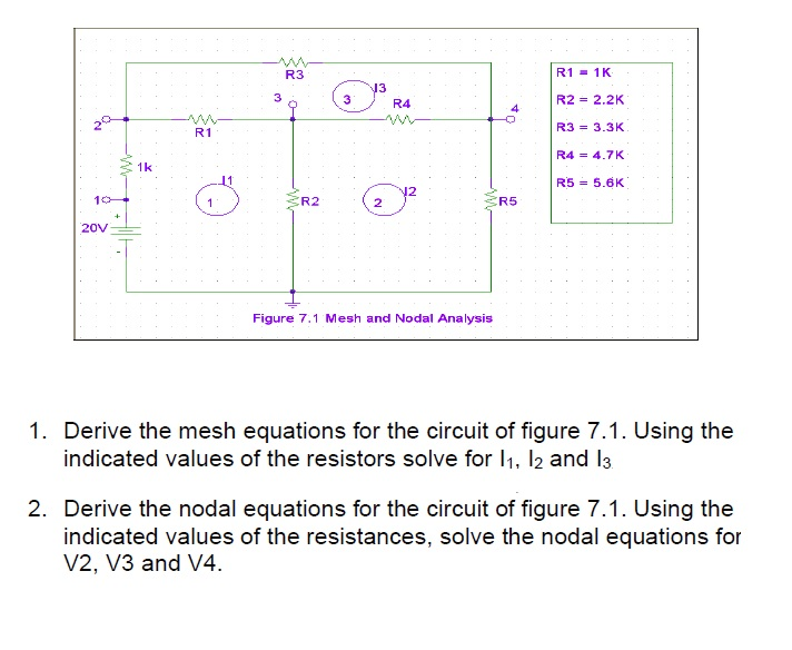 Derive the mesh equation for the circuit of figure