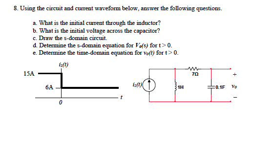 Using the circuit and current waveform below, answ