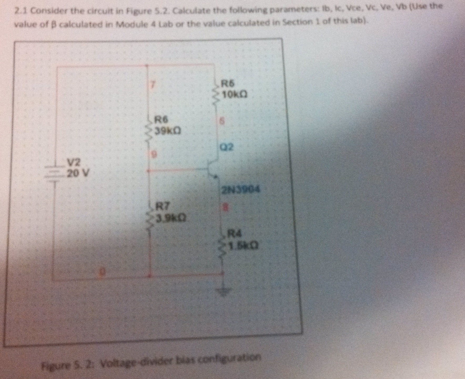 Consider the circuit in Figure 5.2. calculate the