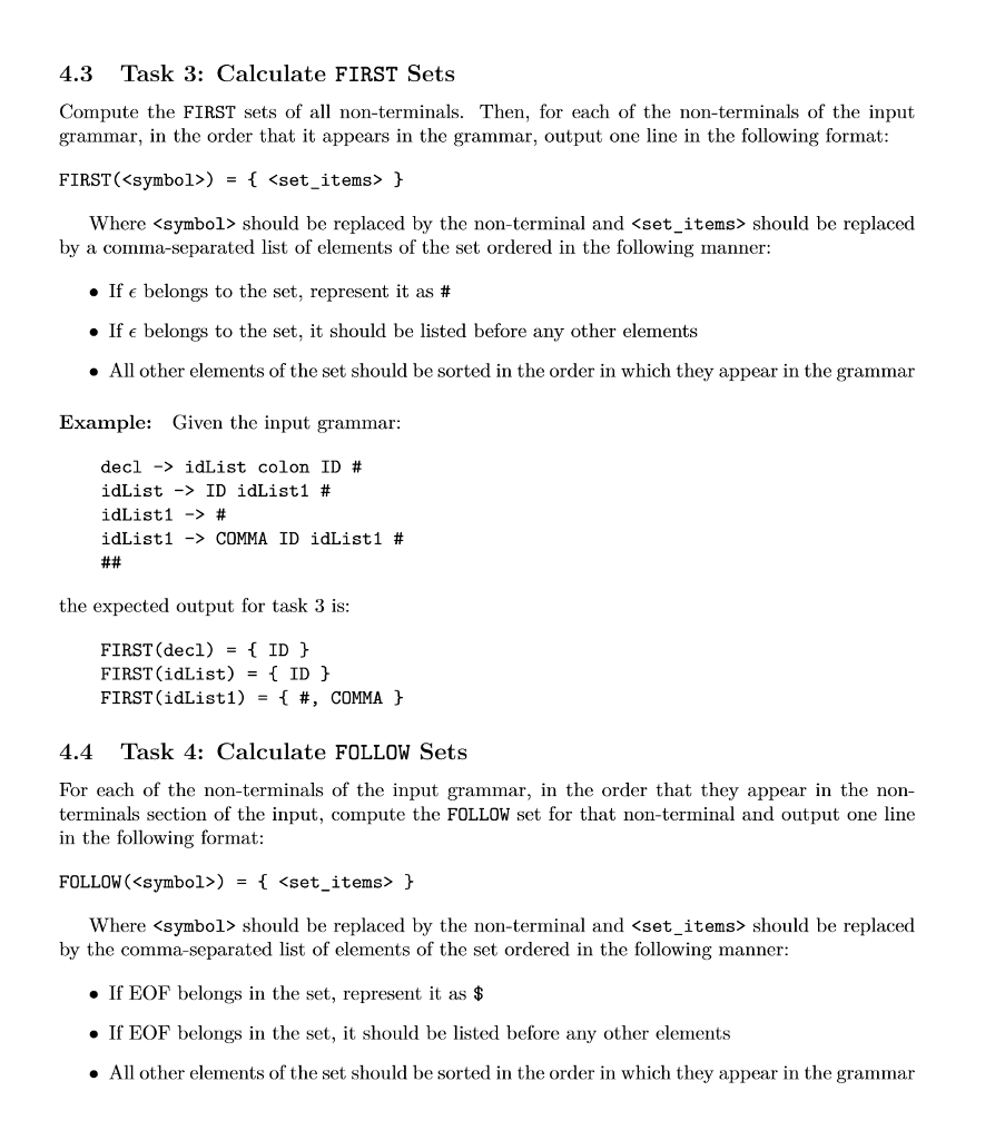 43 task 3 calculate first sets compute the first chegg 43 task 3 calculate first sets compute the first sets of all non terminals biocorpaavc
