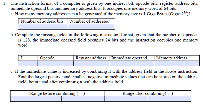 The Instruction Format Of A Computer Is Given By One Indirect Bit, Opcode  Instruction Template Word