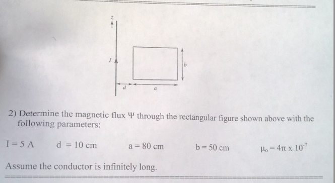 Determine the magnetic flux Phi through the rectan