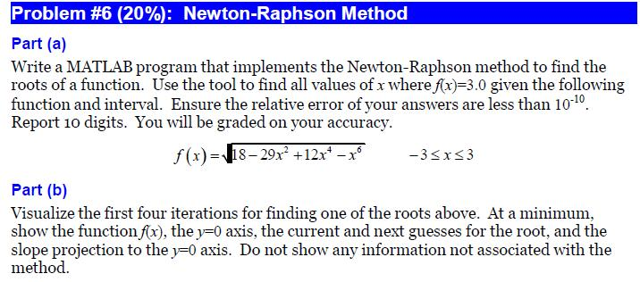 Write a MATLAB program that implements the Newton-