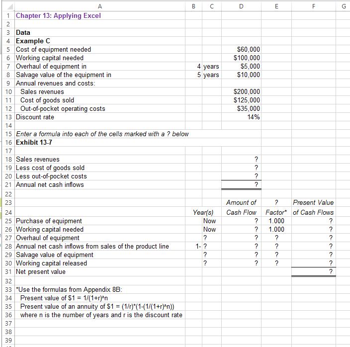 Download The Applying Excel Form And Enter Formula...   Chegg.com