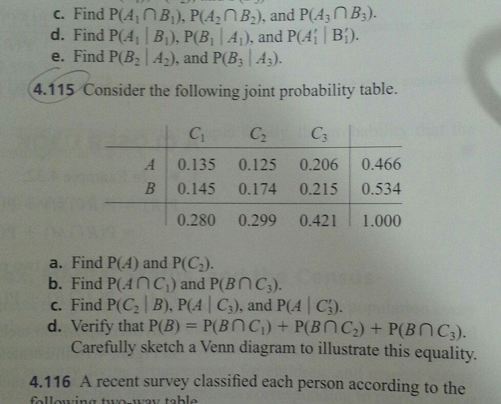 Solved consider the following joint probability table fi c find pain b1 poa n b2 and poa3n ccuart Gallery