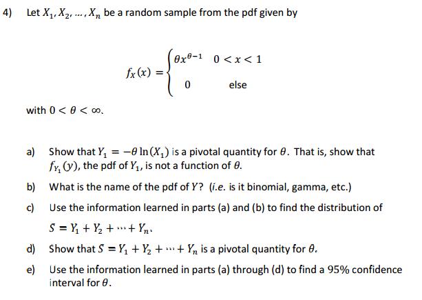confidence interval for distribution with pdf theta x theta