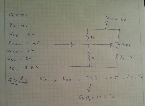 For the circuit shown below, let Vcc=12V, RE=30