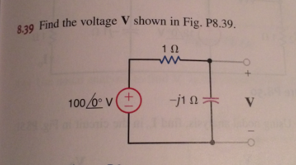 Find the voltage V shown in Fig. P8.39.