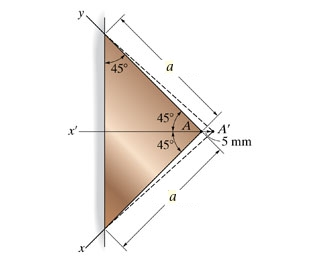 The triangular plate is fixed at its base, and its