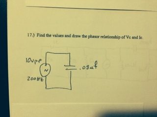 Find the value and draw the phasor relationship of
