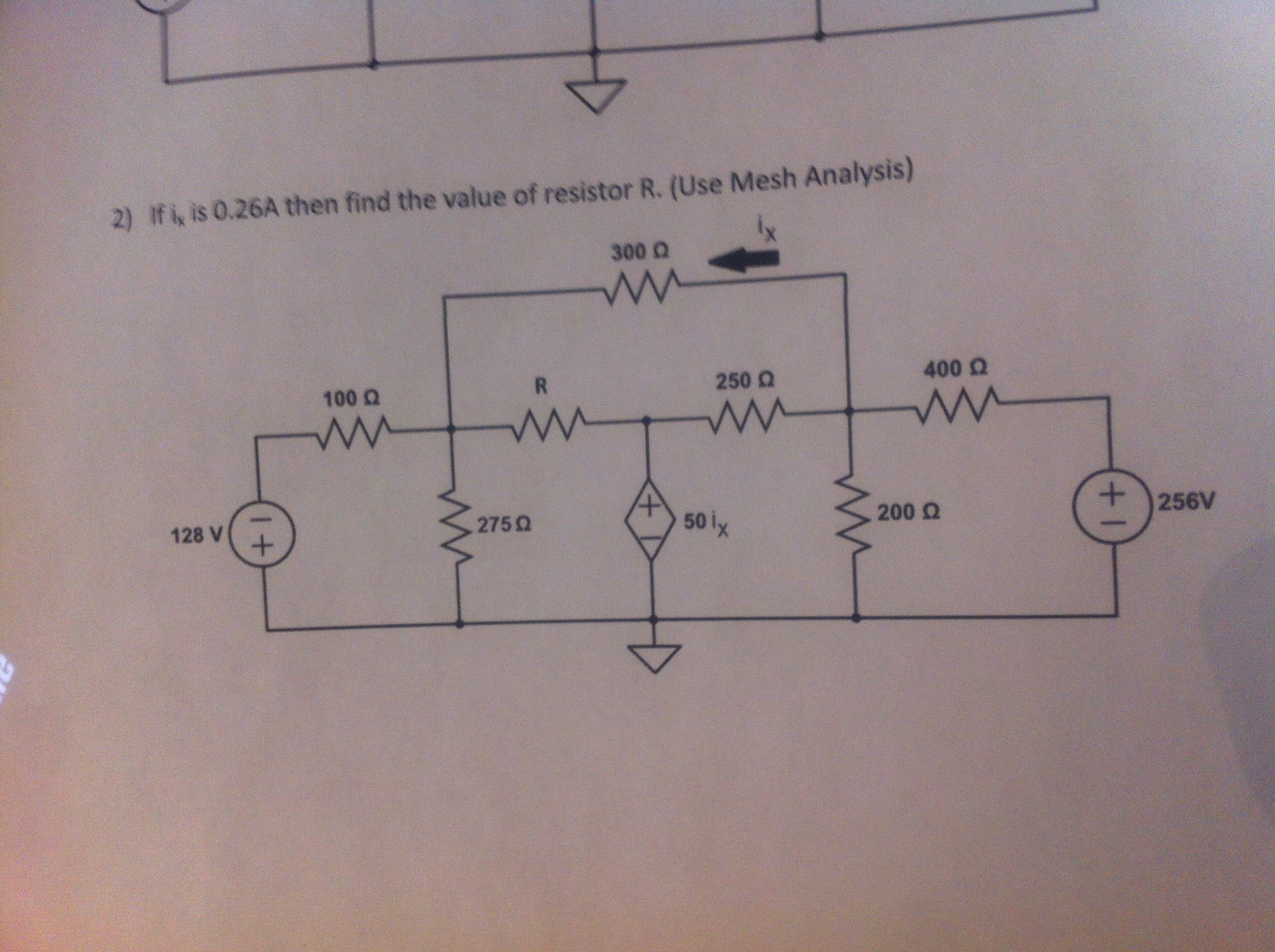 If ix is 0.26A then find the value of resistor R.
