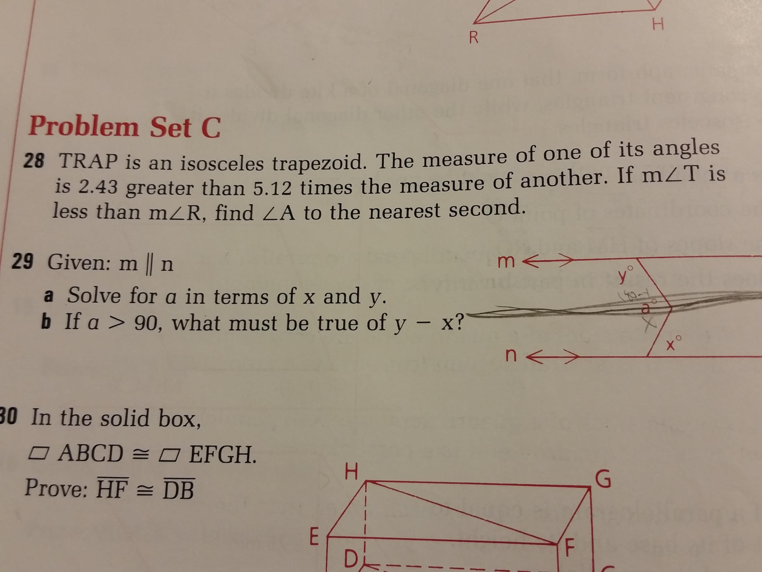 Problem Set C 28 Trap Is An Isosceles Trapezoid T Chegg