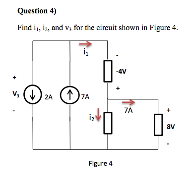 Find i1, i2, and V3 for the circuit shown in Figur