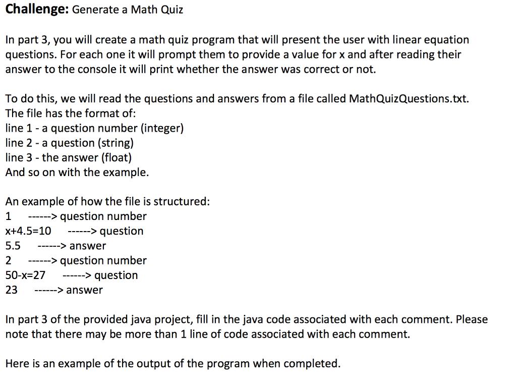 Solved: Package Bonus; Public Class MathQuiz { Public Stat ...