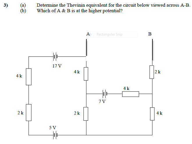 Determine the Thevinin equivalent for the circuit