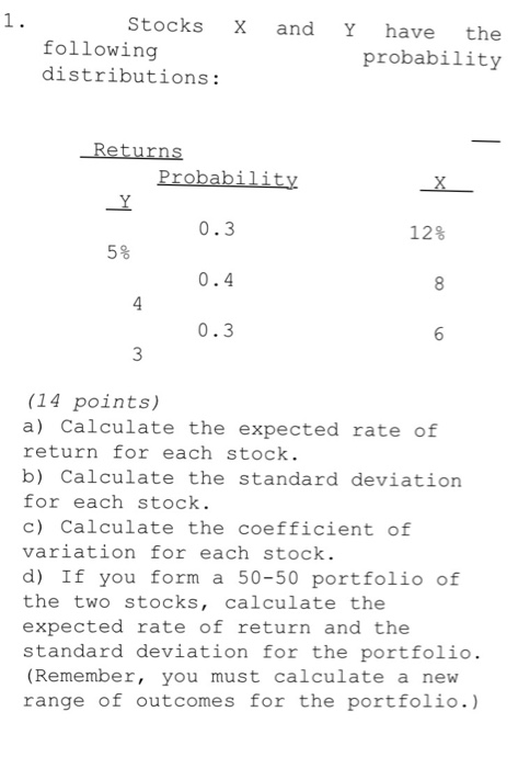 Stocks x and y have the following probability dist chegg question stocks x and y have the following probability distributions calculate the expected rate of retu ccuart Images