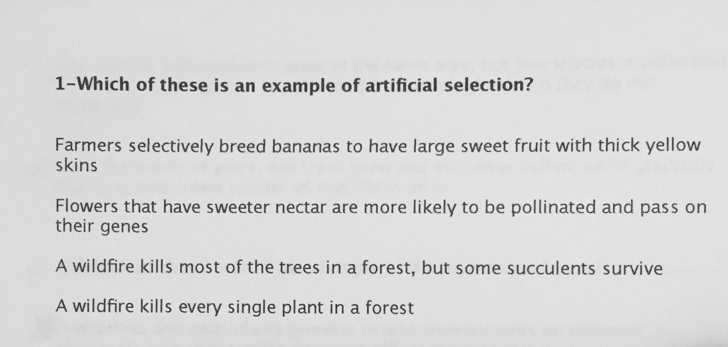 Solved Which Of These Is An Example Of Artificial Selecti