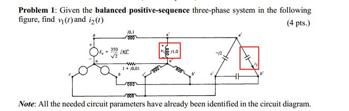 Given the balanced positive-sequence three-phase s