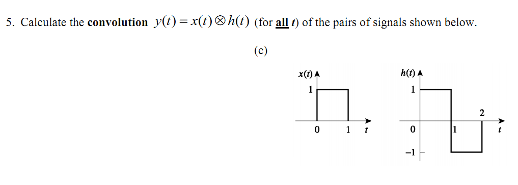 Calculate the convolution (for all t) of the pair