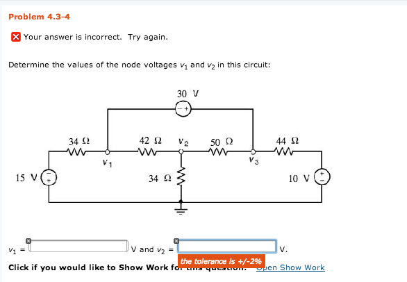 Determine the values of the node voltages v1 and v