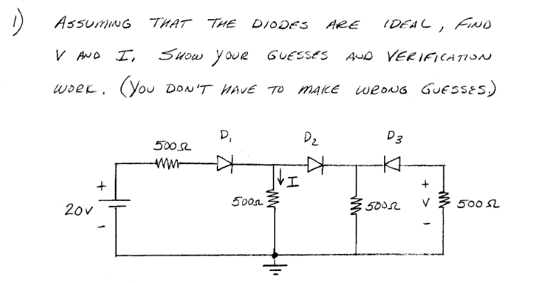 Assuming that the diodes are ideal, find V and I,