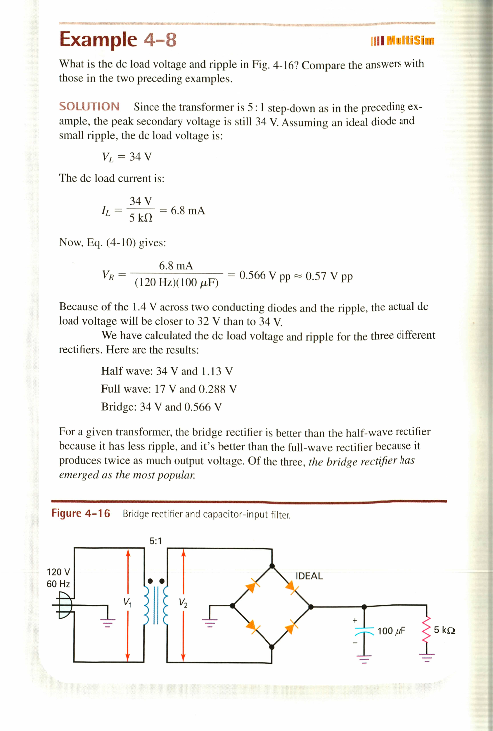 What is the dc load voltage and ripple in Fig. 4-1