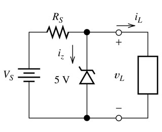 A simple voltage regulator is shown in the figure