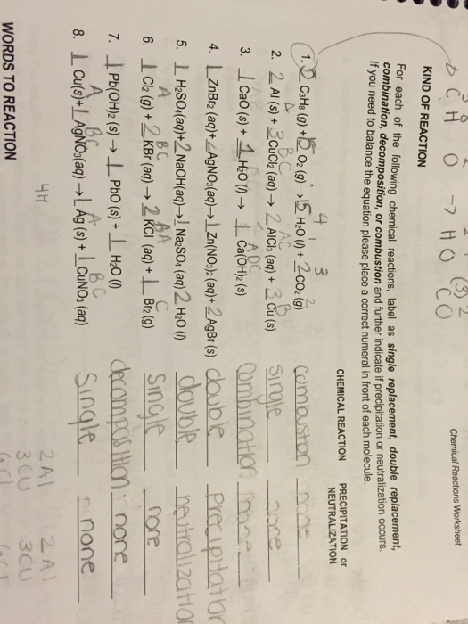 For Each Of The Following Chemical Reactions Labe – Worksheet 5 Double-replacement Reactions