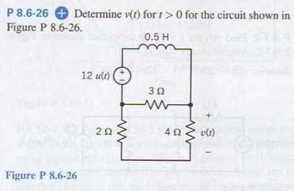P 8.6-26 Determine v(t) for t > 0 for the circuit