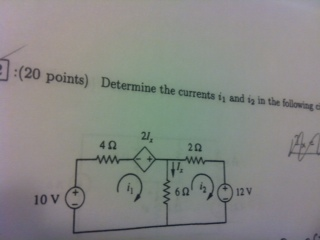 Determine the currents i1 and i2 in the following