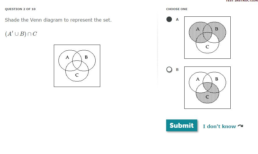 Solved: QUESTION 2 OF 10 Shade The Venn Diagram To Represe ...