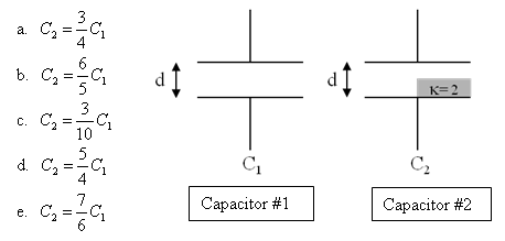 Parallel plate capacitor #1 has plate area A, sepa