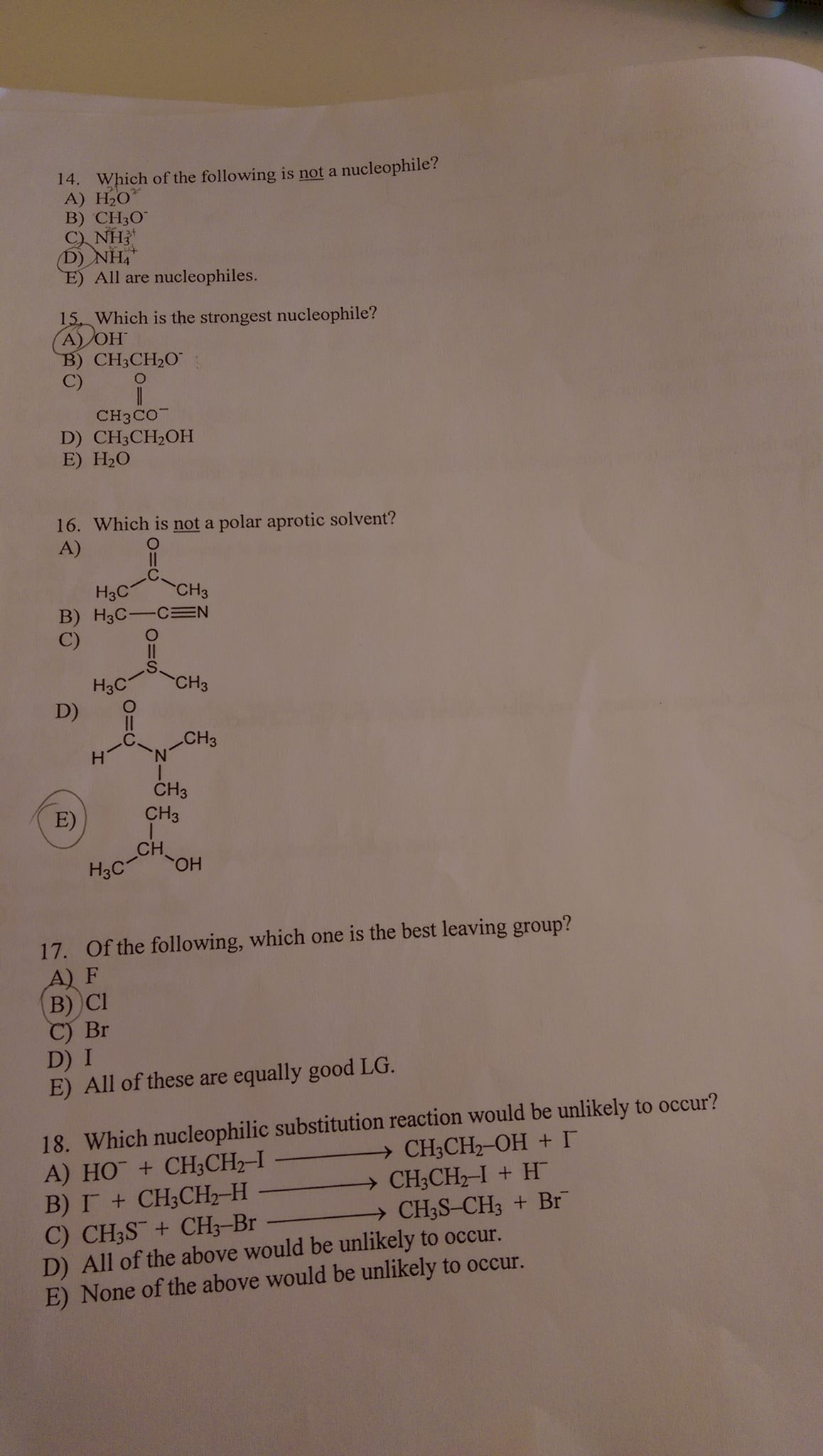 which of the following is not a nucleophile h o com plz help me q14 18 explain the reason thx