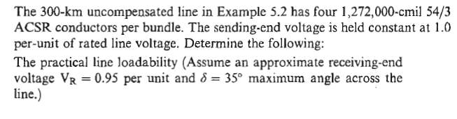 The 300-km uncompensated line in Example 5.2 has f