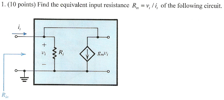 Find the equivalent input resistance Rin = vi, /ii
