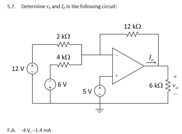 Determine v0 and I0 in the following circuit:
