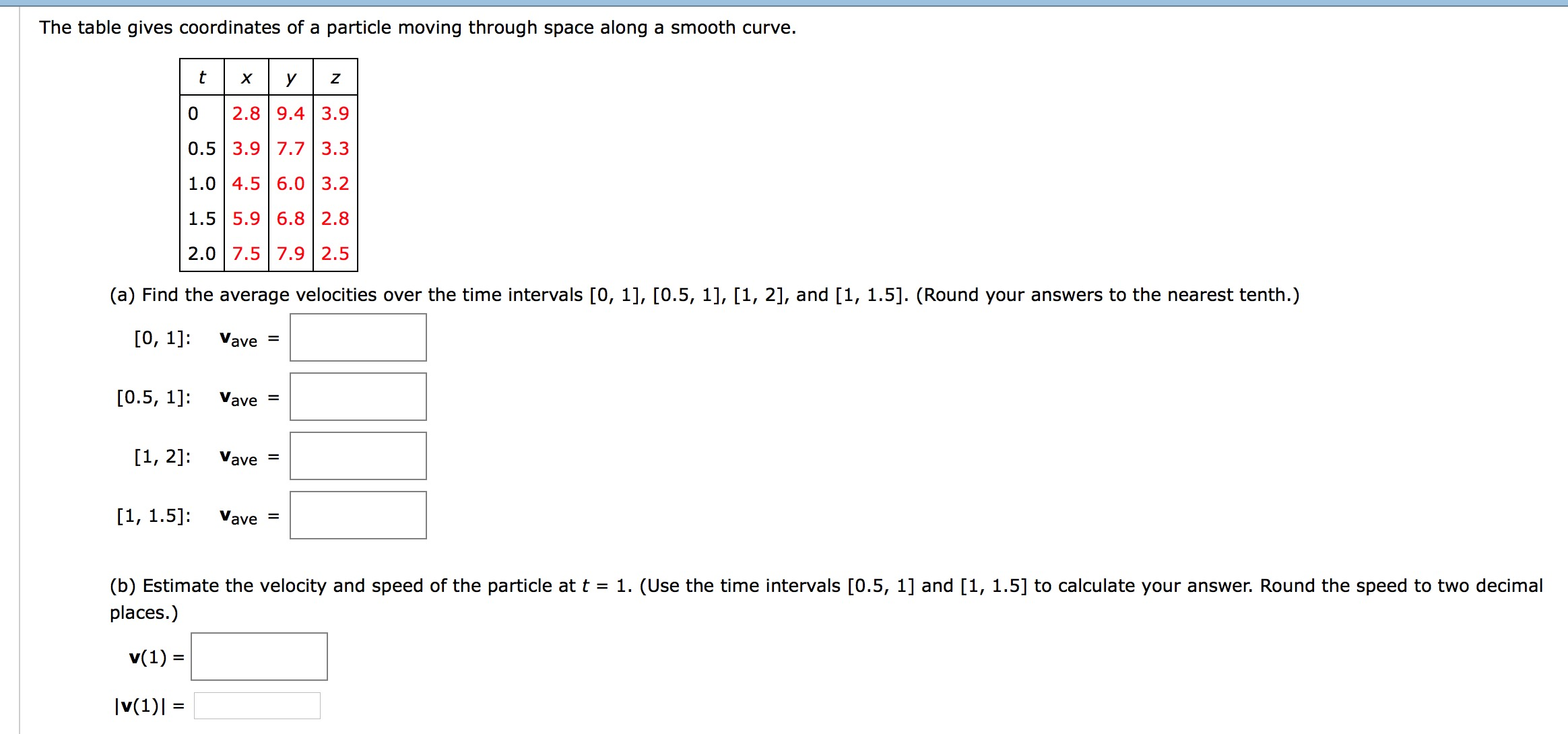 The Table Gives Coordinates A Particle Moving T