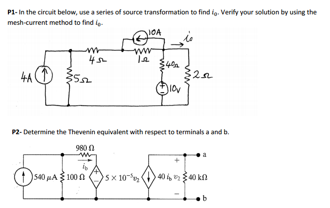 In the circuit below, use a series of source trans