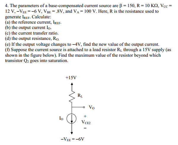 The parameters of a base-compensated current sourc