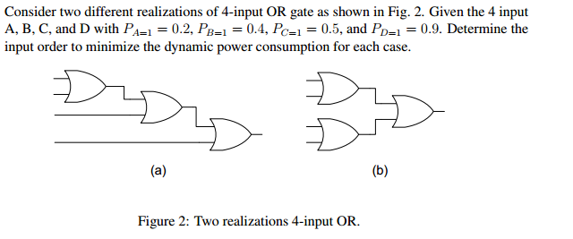 Consider two different realizations of 4-input OR