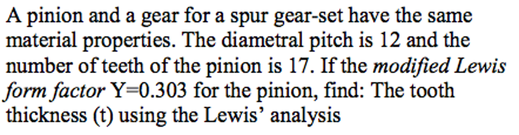 A Pinion And A Gear For A Spur Gear-set Have The S... | Chegg.com