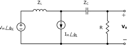 In the network in the figure with VM=200 V, V=65de