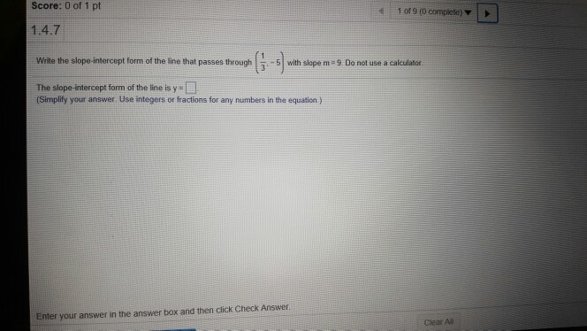 Solved Write The Slope Intercept Form Of The Line That Pa